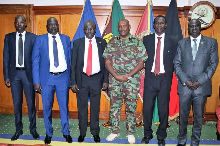 South Sudan's Inspector General of Police,Gen. Majak Akec Malok and his accompanying delegation on Friday paid a courtesy visit to Kenya's newly appointed IGP, Hillary Mutyambai, in his office in Nairobi, Kenya(Photo credit: File/Nyamilepedia)