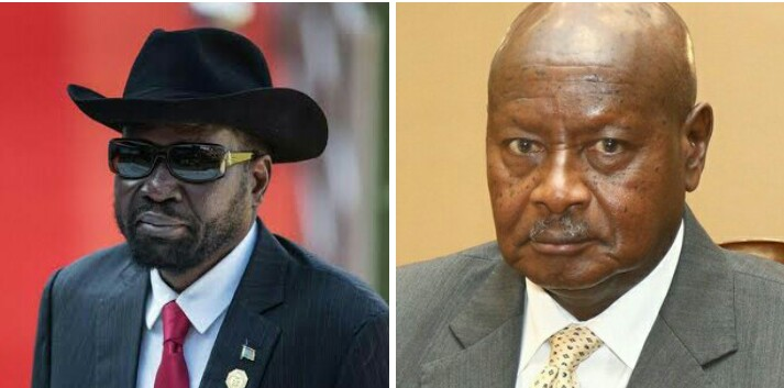 South Sudan President Salva Kiir Mayardit, left, and Uganda President Yoweri Kagutta Museveni, right (File/Supplied/Nyamilepedia)