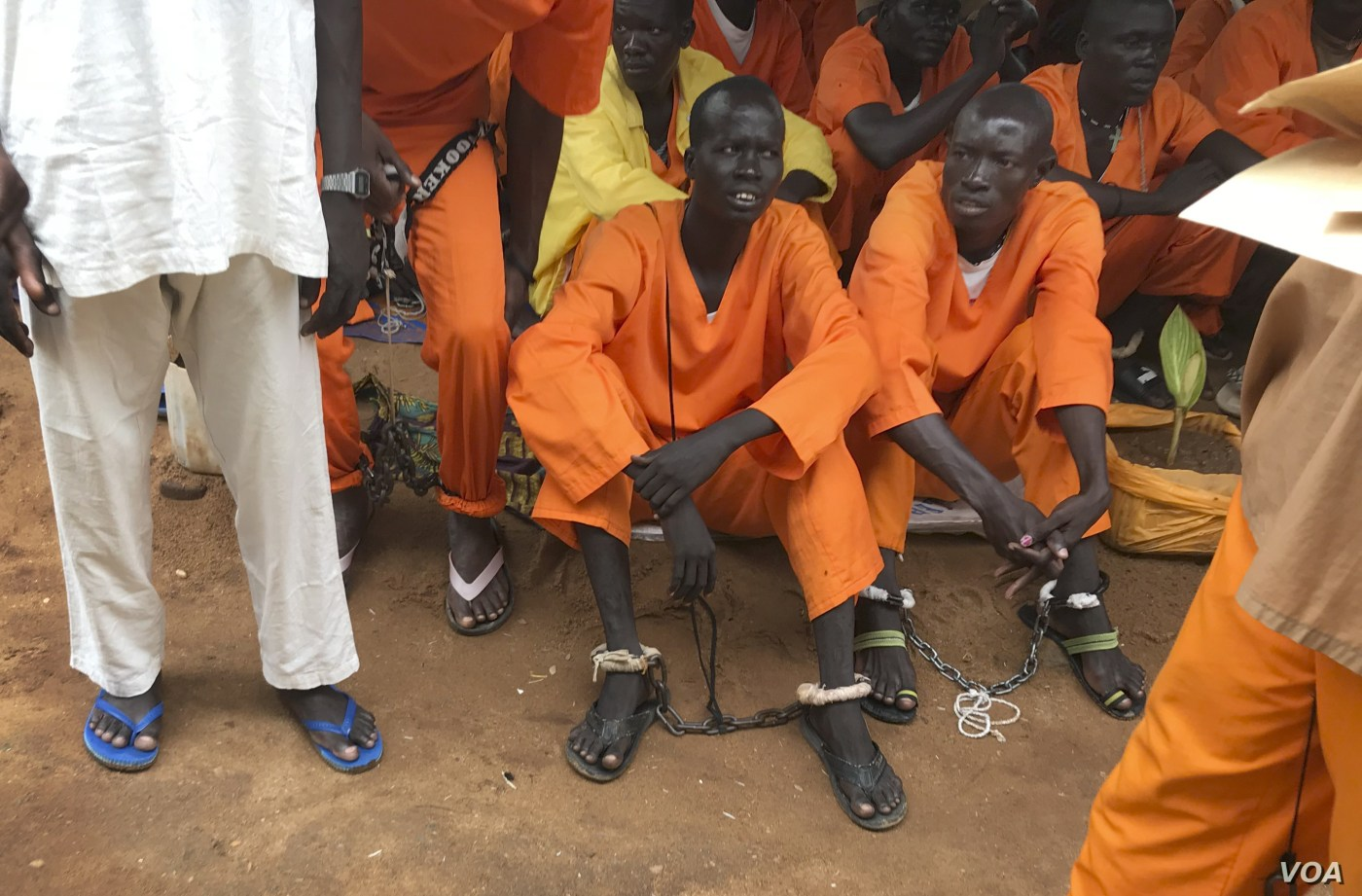 This undated photo shows prisoners sitting together at the central prison in the capital Juba, South Sudan. A new Amnesty International report accuses authorities in South Sudan of torturing people to death in detention and letting many others langui(Photo credit: supplied)