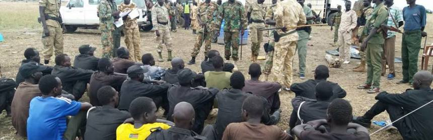 Maj. Gen. Bol Ruach Rom, Juba based Governor of Maiwut State with Major General Nhial Batoang of the SPLA-IG in Longechuk and Maiwut Counties recruiting civilians to fight on their side in 2017(Photo credit: Nyamilepedia)