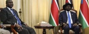 South Sudan president Salva Kiir, left, meeting opposition leader Dr. Riek Machar Teny in Juba (File/Supplied/Nyamilepedia)