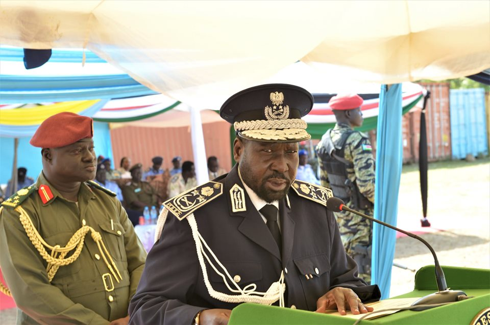 President Salva Kiir Mayardit addressing police conference in Juba (File/Supplied/Nyamilepedia)