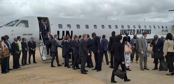 UNSC delegation's arrival in Juba on October 19, 2019(Photo credit: courtesy image/Nyamilepedia)