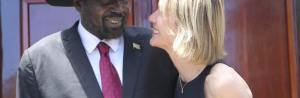 South Sudan's Salva Kiir and a lady member of the United Nation in a chest-to-chest conversation(Photo: file)