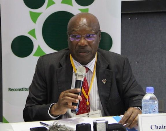 Ambassador Lt. Gen. Augostino Njoroge making his opening statement during the meeting (Photo credit: RJMEC/Nyamilepedia)