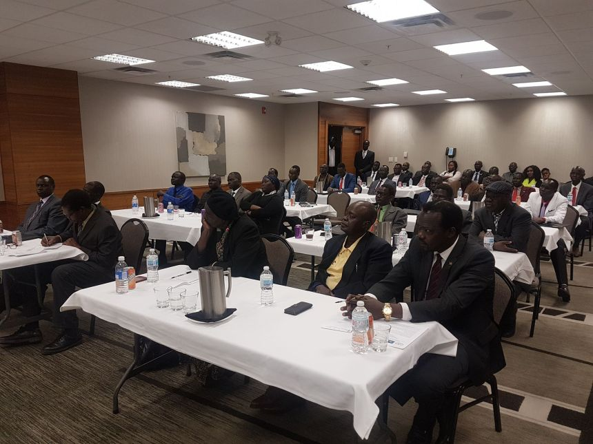 SPLM/A-IO Chapter leaders listening to SPLM/A(IO) Deputy Chairman during leadership briefing in Calgary, Alberta, Canada on October 11, 2019(Photo credit: Nyamilepedia)