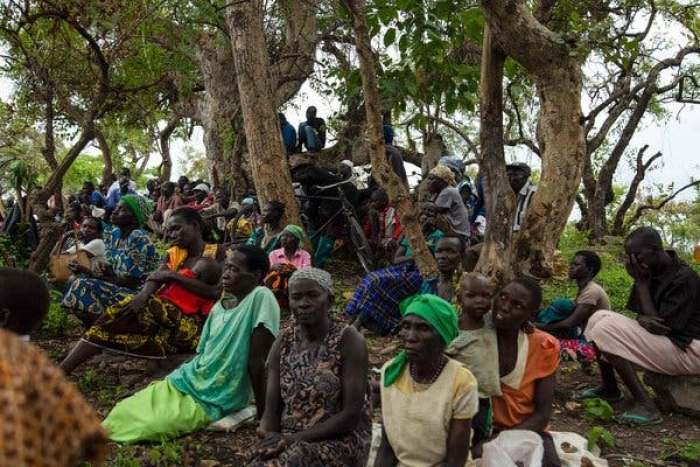 Internally displaced persons in South Sudan, near the border with Uganda. Fighting between government forces and rebels has driven thousands to flee their homes.CreditCreditSumy Sadurni/Agence France-Presse — Getty Image