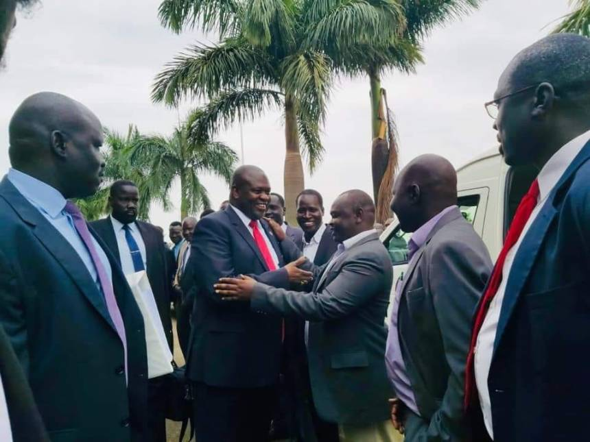 South Sudan's Machar, First Vice President Designate and Leader of the armed opposition, SPLM/A(IO), arrives in Kampala(Photo credit: File/Nyamilepedia)