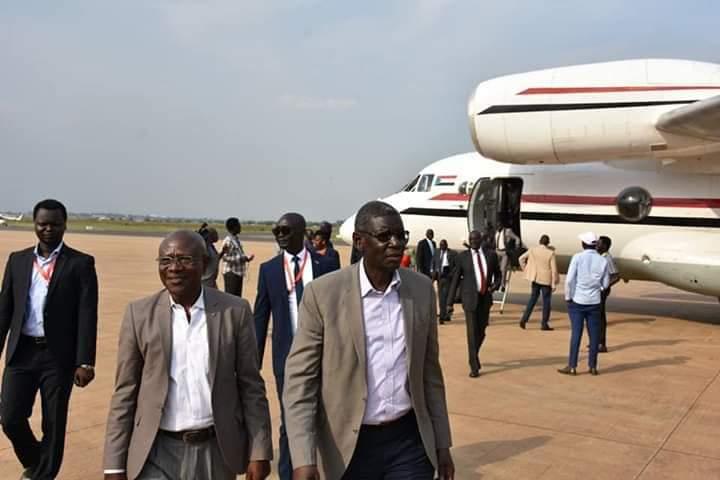 SPLM-IO deputy chairman, Henry Odwar and Secretary-General Tingo Peter arriving at Juba airport from Khartoum(Photo credit: courtesy image/Nyamilepedia)