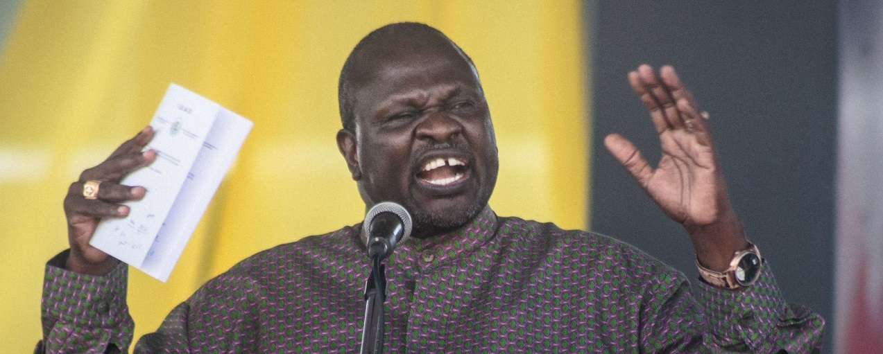 SPLM-IO leader Dr. Riek Machar speaks during a peace ceremony in Juba, South Sudan on October 31, 2018(Photo Credit: AKUOT CHOL/AFP via Getty Images)