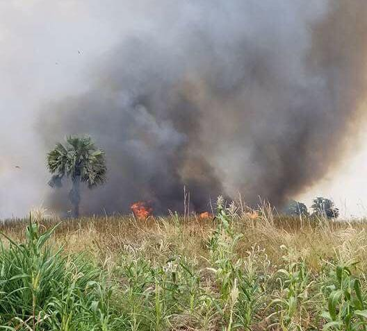 South Sudanese forces burned unconfirmed village after fighting ensued between the rivals SPLAs(Photo source: supplied)