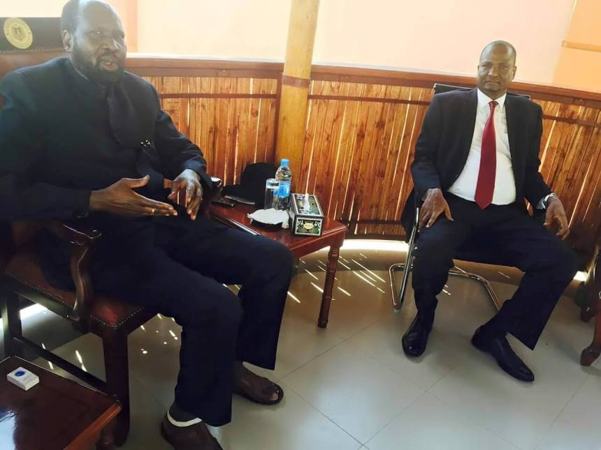 President Salva Kiir and his FVP, Taban Deng Gai having good moments before the sanctions kick in(Photo: supplied)
