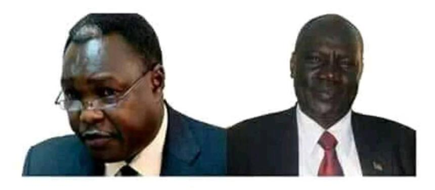 Information Michael Makuei Lueth and Cabinet minister Martin Elia Lomoro (Photo credit: courtesy image/Nyamilepedia)