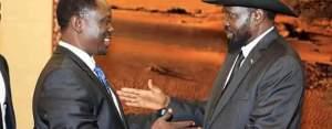 Hussein Abdelbaggi Akol greeting president Salva Kiir in Juba(Photo credit: file)