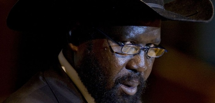 """Salva Kiir, president of South Sudan, speaks during the 66th annual United Nations General Assembly at the UN in New York, U.S., on Friday, Sept. 23, 2011. Kiir said that his nation, the world's newest, will use its oil reserves to create an """"agro-industrial powerhouse"""" in Africa. Photographer: Scott Eells/Bloomberg via Getty Images"""