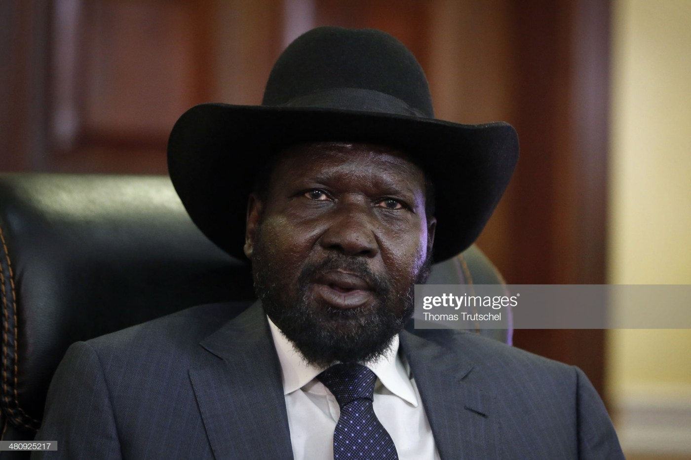 JUBA, SOUTH SUDAN - MARCH 27: South Sudan President Salva Kiir is pictured during a meeting with German Development Minister Gerd Mueller (not pictured) on March 27, 2014 in Juba, South Sudan. Mueller is on a two day trip to Southsudan and Mali. (Photo by Thomas Trutschel/Photothek via Getty Images)