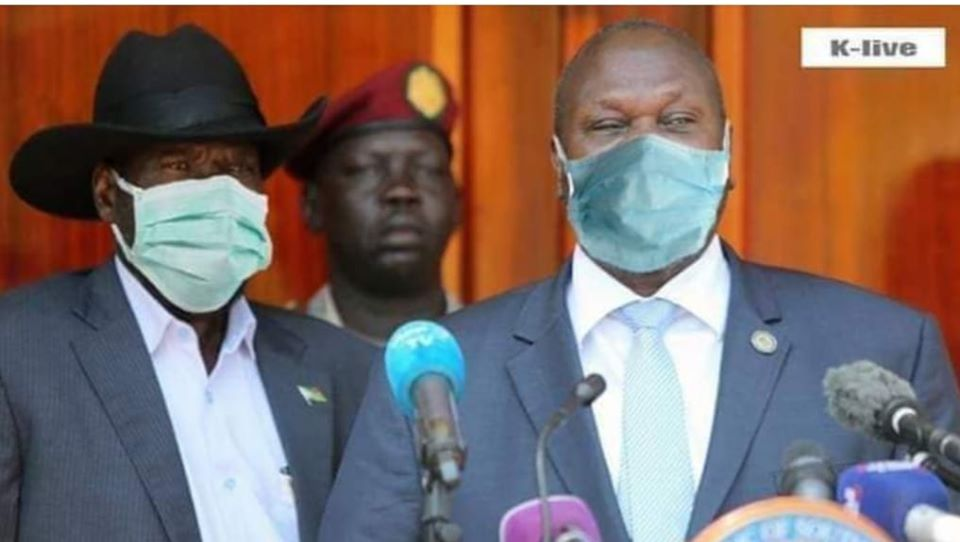 President Salva Kiir, the head of COVID-19 Task Force and Dr. Riek Machar Teny, the deputy head of COVID-19 Task Force demonstrating the use of a mask to prevent Coronavirus(Photo credit: supplied)