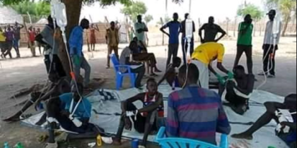 Youth from Lou-nuer, a subtribe of the Nuer tribe of Jonglei State, receive treatment in Pieri after sustaining gunshots from fighting Murle, May 16, 2020(Photo credit: Nyamilepedia)
