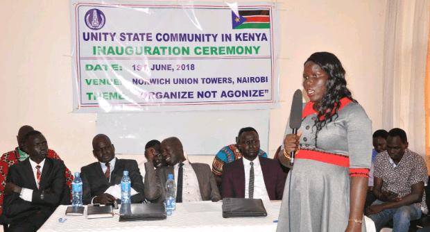 Unity State Women Representative, Nyakuoth Yoah speaking During Unity State Leadership swearing- in in Nairobi(Photo credit: supplied/Nyamilepedia)
