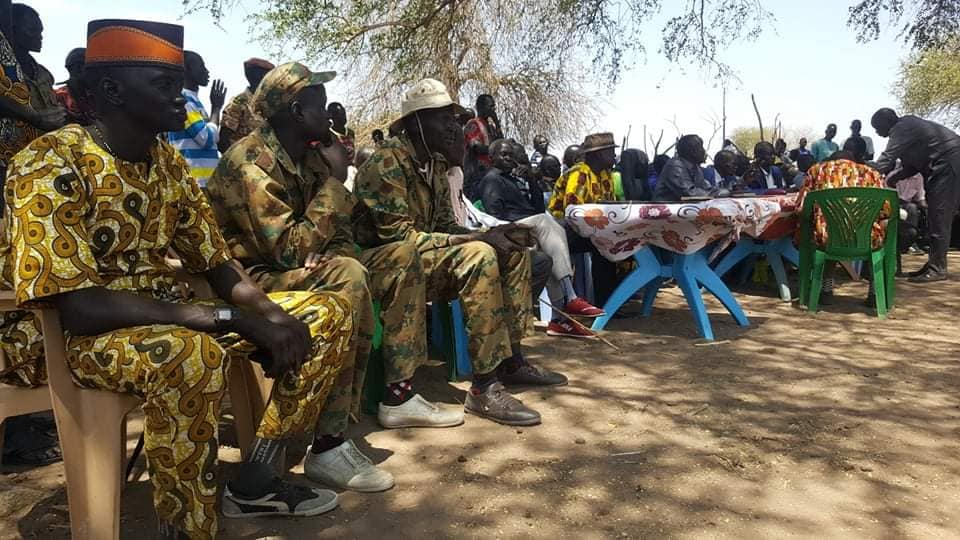 Leaders of Panyijiar county during a meeting in Panyijiar headquarters(Source: supplied)