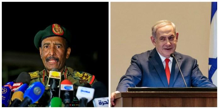 Sudanese military ruler General Abdel Fattah al Burhan [left] and Israeli Prime Minister Benjamin Netanyahu (Photo credit: unknown)