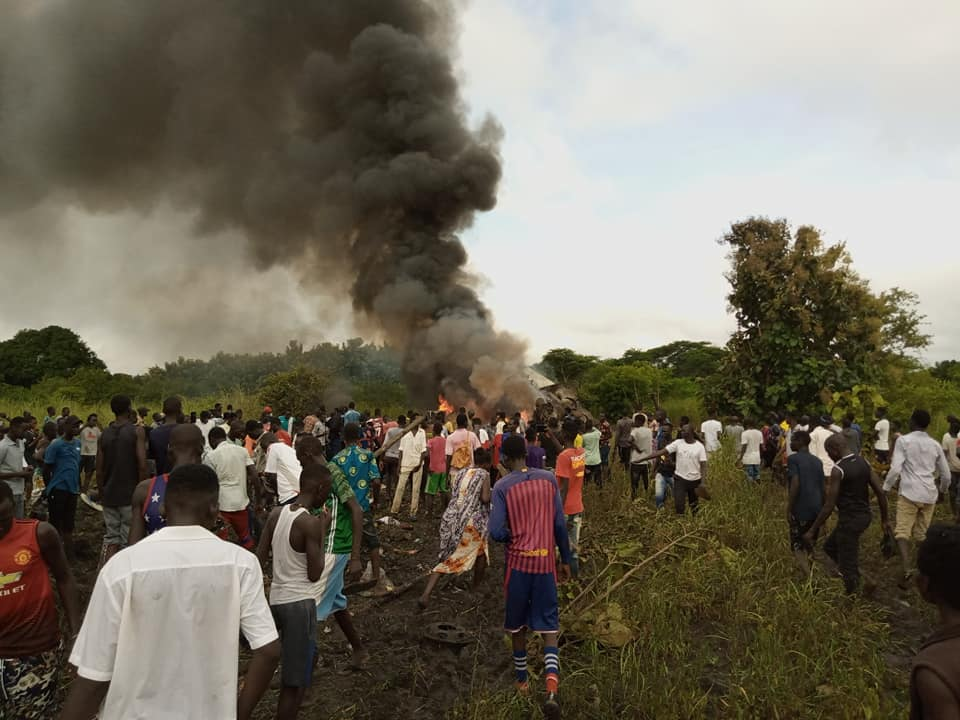 The plane that crashed in Juba today [Photo by eyewitnesses]