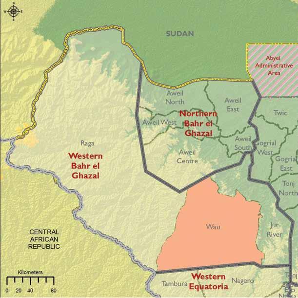 Map of South Sudan's Western Bahr el Ghazal state (Photo credit: Wikipedia)