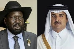 South Sudna President Salva Kiir Mayardit nd the Emir of Qatar Sheikh Tamim bin Hamad Al Thani (Photo credit: supplied)