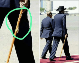 South Sudan president Salva Kiir Mayardit has been seen a few time walking with a stick that carries witchcraft symbols(Photo credit: South Sudan Presidency)