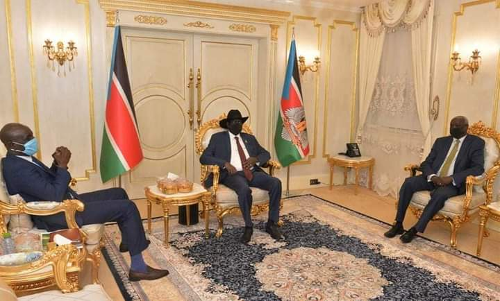 President Kiir meeting the Minister of Wildlife and Tourism, Rizik Zakaria, alongside the minister of presidential affairs, Nhial Deng Nhial in Juba, September 14, 2020(Photo credit: OoP/Nyamilepedia)