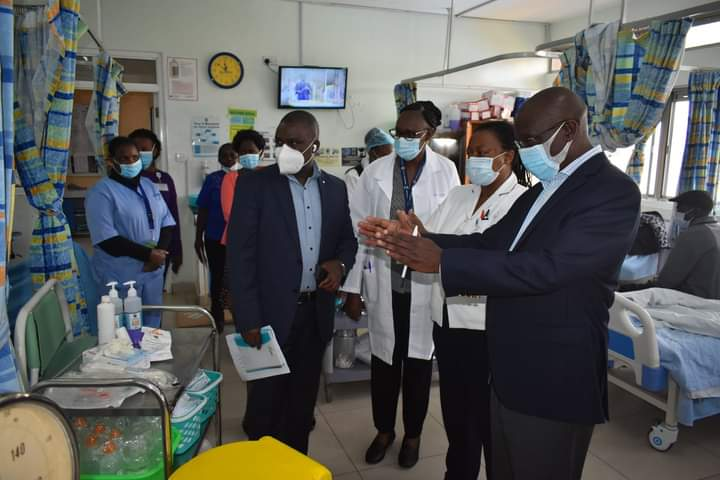 KNH Board Chairman, Mr. George Ooko, Senior Director, Clinical Services, Dr. Irene Inwani, Director Corporation Secretary, Calvin Nyachoti and Director Nursing Services Mrs. Judith Mugambi touring the hospital on September 18, 2020(Photo credit: KNH/Nyamilepedia).
