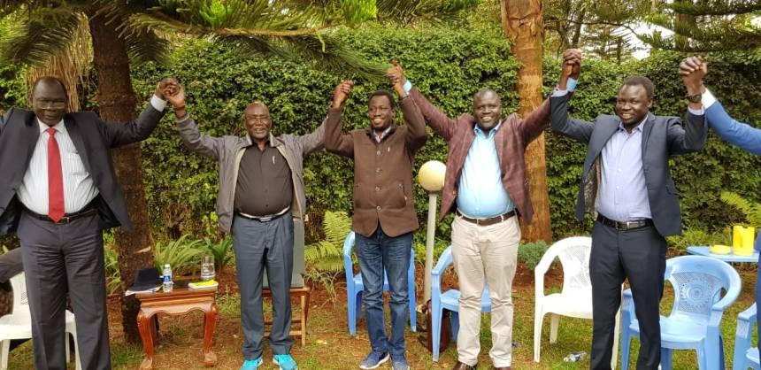 Gen. Paul Malong Awan, Sunday de John and other members of Malong Group(Photo source: Sunday de John)