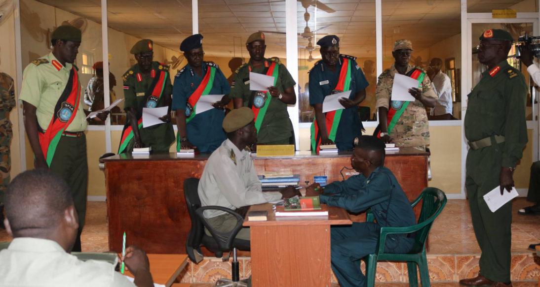 Members of General court martial comprising of organized forces took oath of office at Military Justice in Juba, South Sudan(Photo credit: supplied)