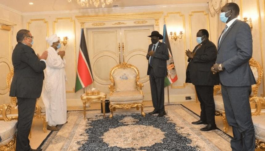 The representative of Central Sudan track, Dr. El Tom Haju, meeting President Salva Kiir in J1, South Sudan(Photo credit: OoP/Nyamilepedia)