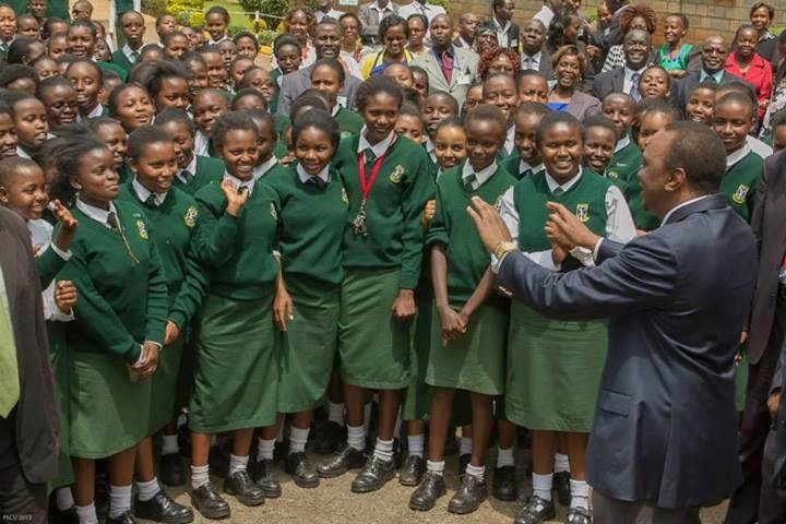 President Uhuru Kenyatta visiting one of the schools before the Coronavirus dismantle social gathering(Photo credit: supplied)