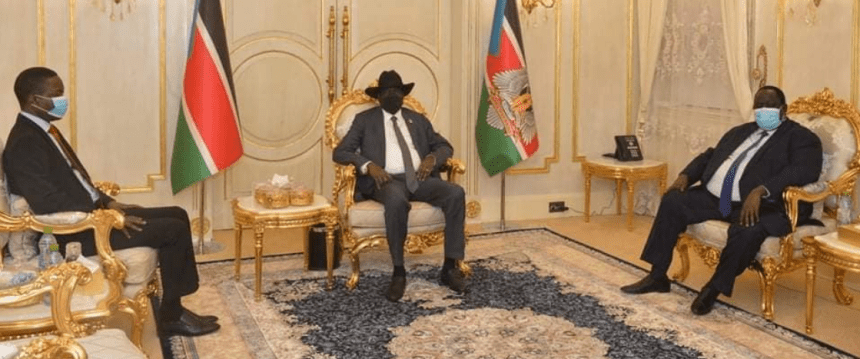 President Salva Kiir meeting Shamsaddin al-Kabashi, a member of Sudan's Sovereign Council and Tut Kew, his Advisor on Security(Photo credit: file)