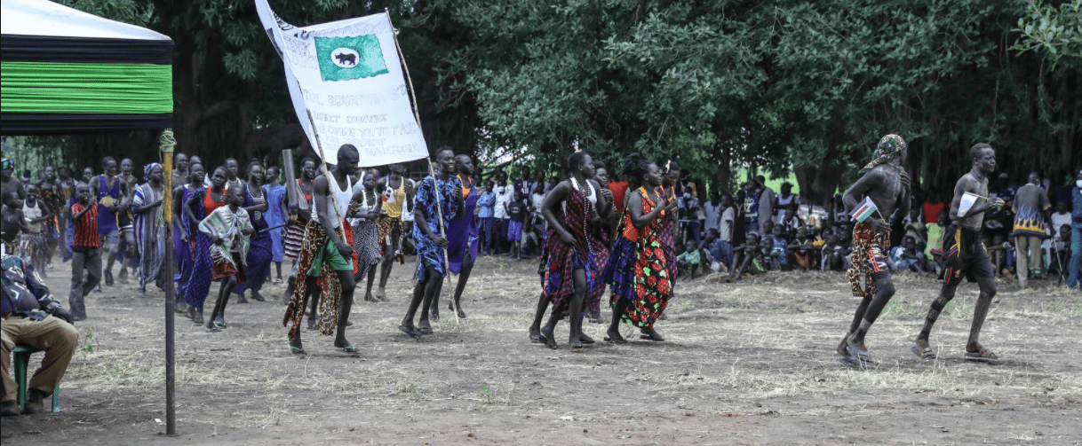 Members of the Mundari tribe celebrate opening of a new police station in Terekeka, Central Equatoria, South Sudan, September 5, 2020(Photo credit: UNMISS/Nyamilepedia)