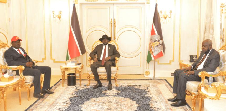 The Governor of Warrap State Bona Panek Biar meets President Salva Kiir at his palace in Juba, South Sudan(Photo credit: courtesy image/Nyamilepedia)