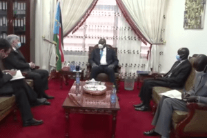 First Vice President, H.E. Dr. Riek Machar, and the European Union (EU) Ambassador to South Sudan, H.E. Christian Bader discussing the implementation of the peace agreement(Photo credit: courtesy image/Nyamilepedia)