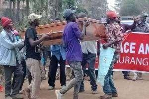 Murang'a residents protest calling for the arrest of sabina chege over the weekend kenol violence(Photo credit: supplied/Nyamilepedia)