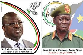 A potrait of the FVP Dr. Riek Machar Teny and Military Chief of Staff of the IO, 1st. Lt. Gen. Simon Gatwech Dual(Photo credit: courtesy image/Nyamilepedia)