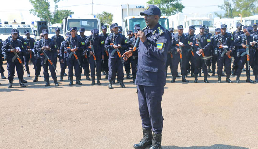 The Deputy Inspector General of Police in charge of Operations, Felix Namuhoranye addressing the Police officers set to be deployed for peacekeeping operations(Photo credit: supplied/Courtesy photo)