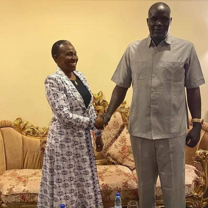 South Sudan Minister of Defence, Hon. Angelina Teny meeting Lt. Gen. Johnson Olony in Khartoum, Sudan(Photo credit: Courtesy image/Nyamilepedia)