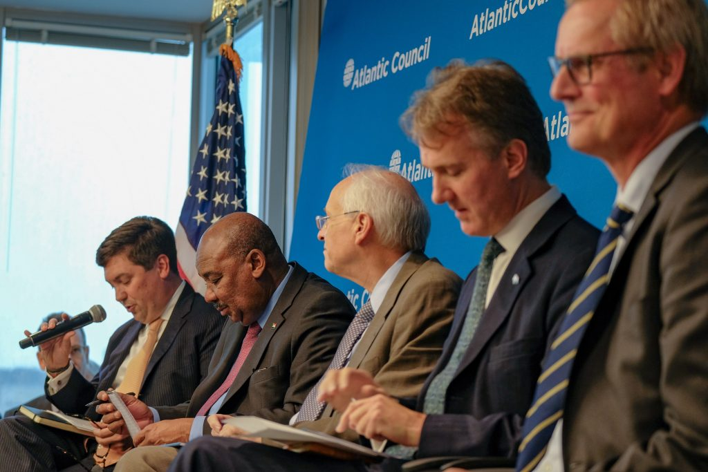 Atlantic Council Senior Fellow Cameron Hudson moderates a panel with Sudanese Finance Minister H.E. Ibrahim Elbadawi, US Special Envoy for Sudan The Hon. Donald Booth, UK Special Envoy for the Red Sea and the Horn of Africa H.E. Julian Reilly, and Norwegian Special Envoy to Sudan and South Sudan H.E. Endre Stiansen. (Atlantic Council/Jasper Gilardi)