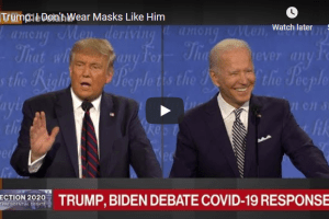 President Donald Trump and Democrats' candidate Joe Biden during their first presidential debate in Cleveland on Sept 30, 2020...