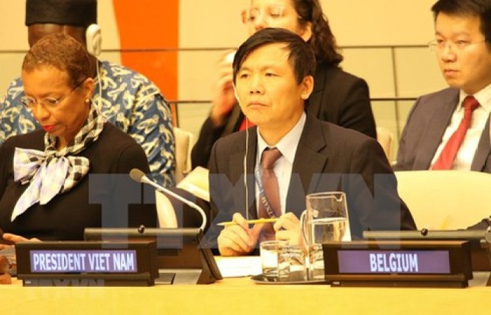 The head of the Vietnamese mission to the United Nations, ambassador Dang Dinh Quy speaking during a UNSC meeting(Photo credit: courtesy image/Via VNA)