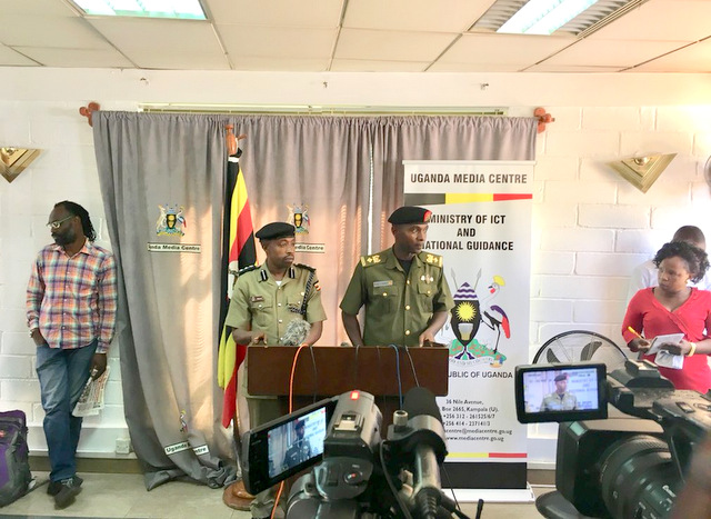 Ugandan military deputy spokesperson, Lt.Col. DEO Akiiki addressing a press in Kampala(Photo credit: courtesy image)