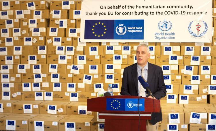 European Union Ambassador Christian Bader speaking during EU Humanitarian Response to COVID-19 in South Sudan(Photo credit: Courtesy image/Nyamilepedia)