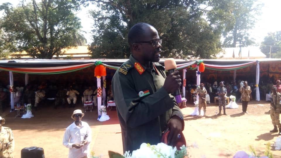 Former SPLA-IO Maj. Gen. James Nando speaking in the past in Rangu in the former Gbudue State(Photo credit: courtesy image/Nyamilepedia)