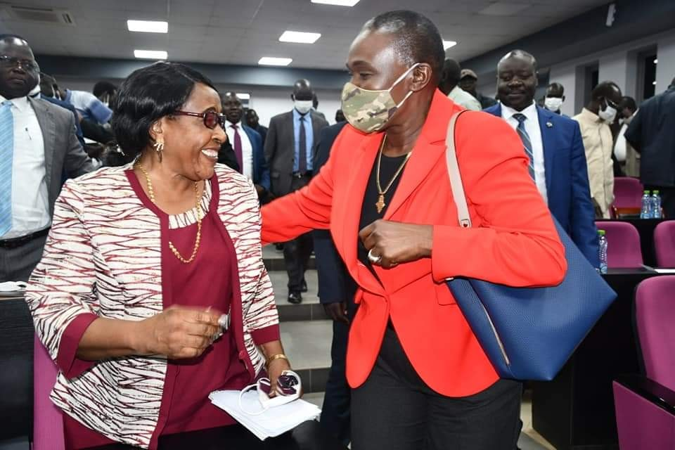 Minister of Defense Angelina Teny celebrating the appointment of Hon. Regina Joseph Kaba as the Interim Secretary General(Photo credit: courtesy image/supplied)
